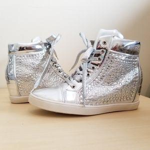 NIB High-Top Mettalic Sneaker w/ Heel